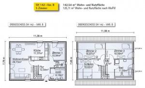 Grundriss des SH 142 Variante B