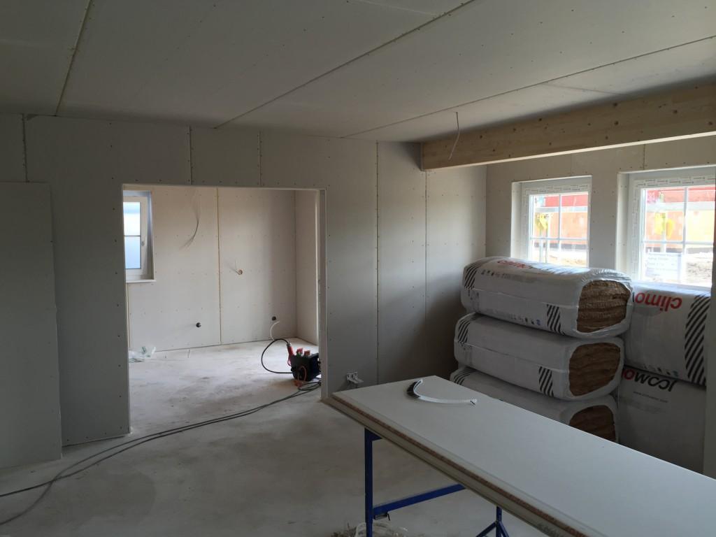 Das fertig beplankte Wohnzimmer (05.07.2015)